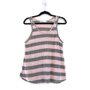 Stateside Tank Lightweight Striped Pink Grey Top M